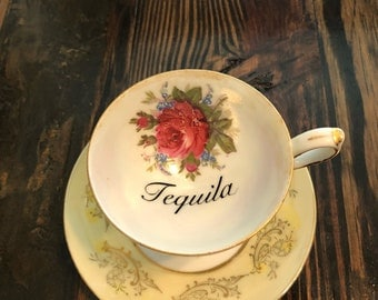 Tequila | vintage vulgar 3oz demitasse teacup and matching saucer