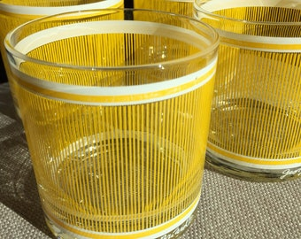 Vintage Georges Briard (4) Yellow Striped Banded Glasses