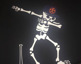 Dabbing skeleton with astros hat