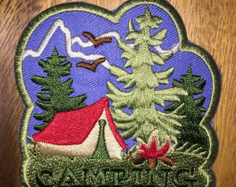 Camping patch hiking outside outdoors stars moon wilderness wildlife Boy Scout tree stream Girl Scout s'mores stories fire tent