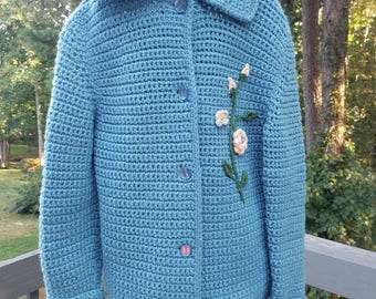 1960s handmade girls chrocheted blue sweater