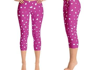 Women Leggings, Printed Leggings, Yoga Leggings, Workout Leggings, Polka Dot Leggings | Maxine Capri Leggings