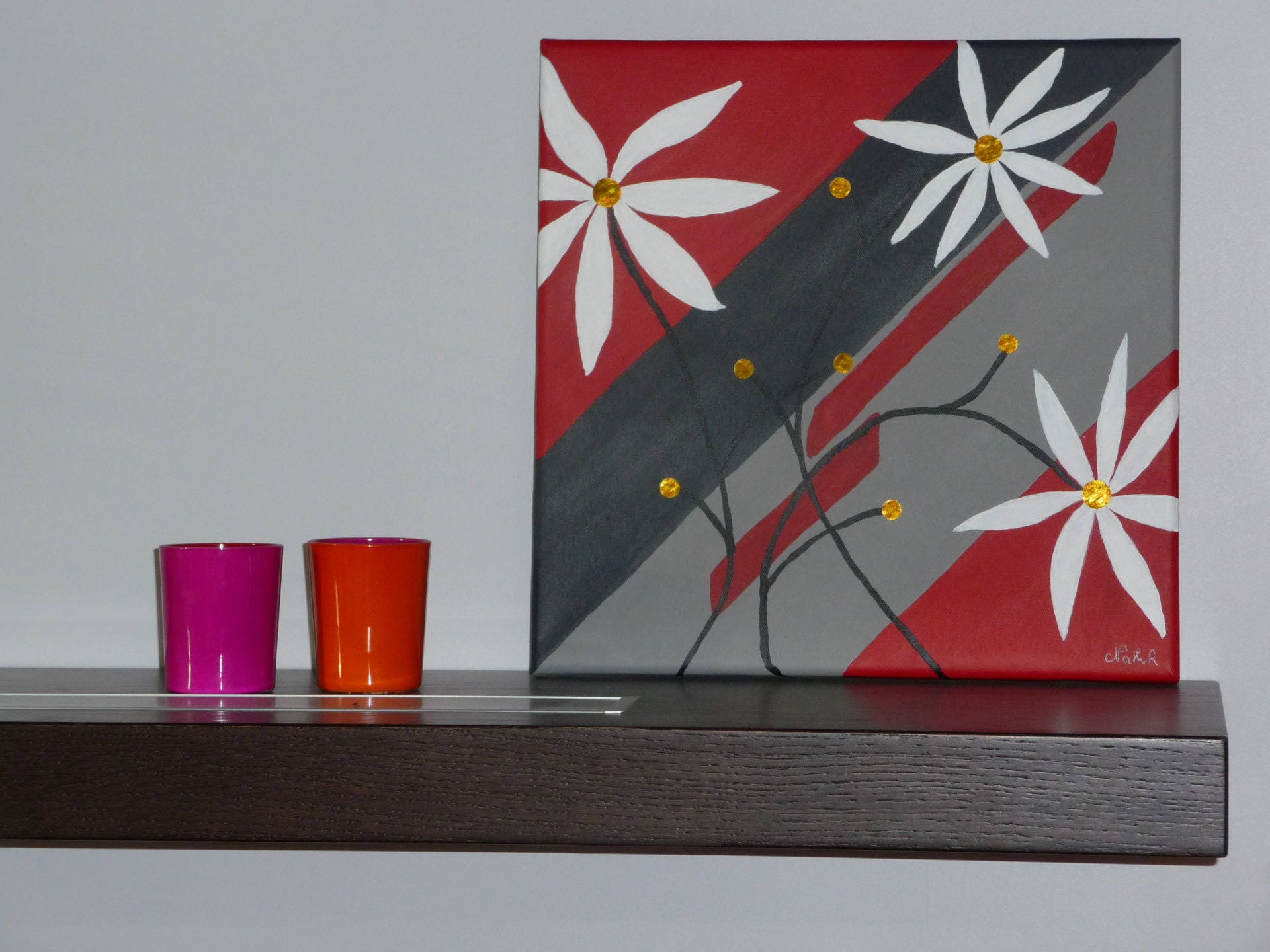 tableau fleurs blanches peinture moderne rouge gris dor. Black Bedroom Furniture Sets. Home Design Ideas