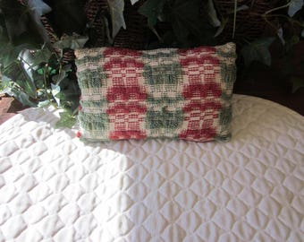 Primitive Antique Coverlet pillow, Rust & Olive Green
