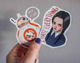 Wednesday Addams sticker, star wars sticker bb8, pack stickers laptop, art sticker handmade, gift for her, gift for him, personalized gift