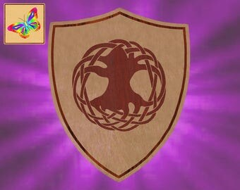 Tree of Life Symbol Solid Baltic Birch Plaque in a Shield Shape