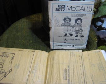 Vintage Raggedy Ann and Andy Doll and Clothing Pattern McCall's 623 8077 Complete w Instruction Sheets and all Pieces Uncut! circa 1977