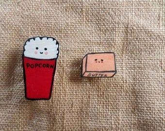 Cinema Lover Gift, Popcorn and Butter, Gift Brooch Set, Kawaii Popcorn, Kawaii Butter, Kawaii Cinema, Food Jewelry, Kawaii Food Jewelry