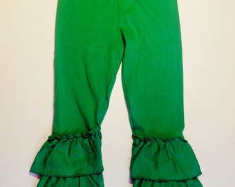 Green triple layer ruffle pants