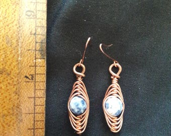 "Bare Copper ""Herringbone"" Style Earrings"