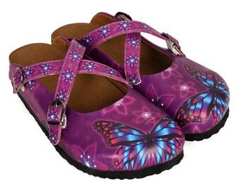 Kids'D Women Handmade Purple Butterfly Women Slipper