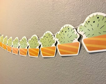 Cactus Banner, Green and Orange, Succulent, Nature, Party Supplies, Party Decoration, Garland, Streamer, Sign, Kid's Birthday, Custom