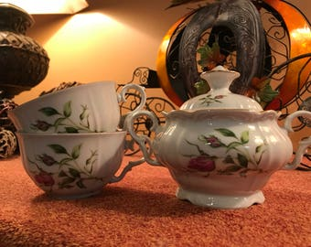 Vintage Bohemian Fine China Sugar Bowl And Teacups