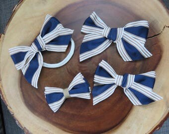 Navy Gold and White Grosgrain Bow Headband or Clip