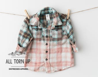 The Dallas distressed bleached acid washed flannel long sleeve Boys plaid button up front top shirt