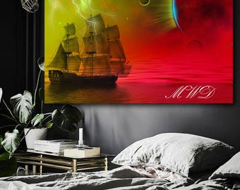 Wall Tapestry Wall Hanging Fantasy Ship Meteor Storm Red Seas Directly from the Artist