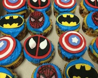 Batman cupcake toppers.Captain America cupcake toppers.Spider man cupcake toppers.Super hero cupcake toppers.Fondant cupcake toppers