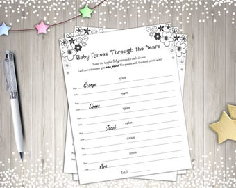 Baby Shower Games, Baby Names Through the Ages, Printable Baby Shower Game, Digital Baby Shower Games