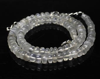 "Natural Moonstone Round Beads Strand Necklace. 98 Carats, 13.8"" Inches Strand, Size- 4 to 6 MM Approx Code-HN37"