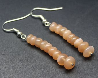 """Natural Pitch Moonstone Round Beads Earrings. 1.3"""" Inches Strand, Size- 5 to 7 MM Approx Code-HN01"""
