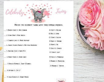 Pink Elephant Celebrity Twins Baby Shower Printable Game