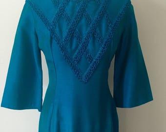 1960's Marsha Mayne Turquoise Evening Dress Size 10