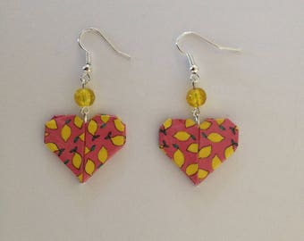 Coral origami heart earrings
