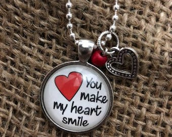 You Make My Heart Smile Pendant Necklace