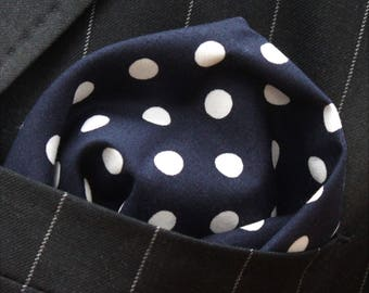 Hankie Pocket Square Handkerchief NAVY BLUE Polka Dot - Premium Cotton - UK Made