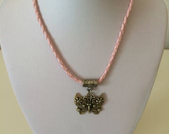 Butterfly Necklace, with a Pink Plaited Rope