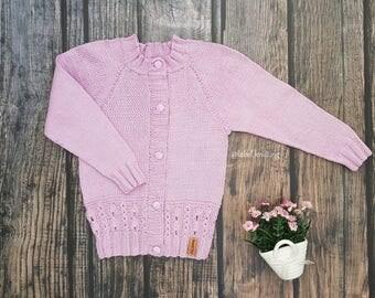 Knit Blazer kids Hand knit sweater Girls knited jacket toddler blazer Knited baby coat Handknit kids jacket Knited jacket for girl