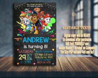Paw Patrol Invitation, Paw Patrol Birthday, Paw Patrol Party, Paw Patrol Card, Paw Patrol Printable, Paw Patrol, Paw Patrol Boy, Boy Invites