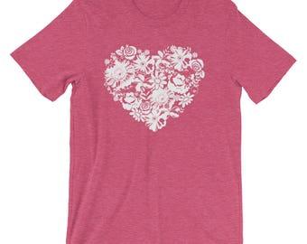 Women's Flower Heart Floral Love Short-Sleeve T-Shirt