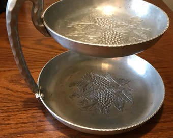 Vintage 1950s Everlast Forged Aluminum 2-Tier Hand Hammered Serving Dish with Grape Bunch Design #1064