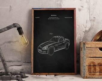 Honda S2000 Art Print, Patent, Honda S2000 Vintage Art, Blueprint, Poster, PatentPrints, Wall Art, Decor - Instant Digital download