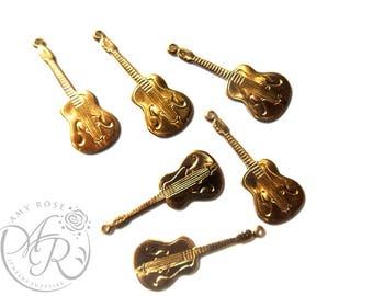 Raw Brass Guitar Charm, 6 pcs, 13x30mm