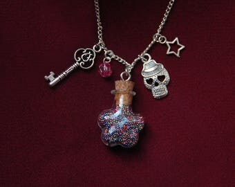 Glass vial necklace flower and its micro multicolor beads