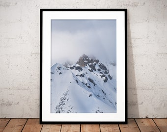 Set of 2 - Snow Mountain Digital Print, Innsbruck, Austria, Alps, Misty Summit Poster, Winter Printable Wall Art, Home Decor, Nature Prints