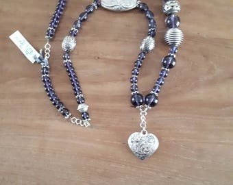 Cute long purple necklace with heart