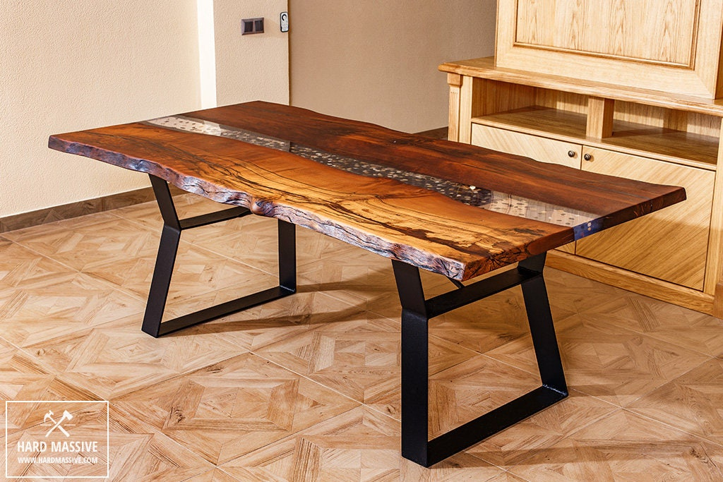 River Table With Stones Unique Dining Table Table Wood Metal