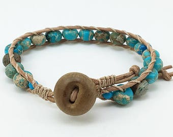 Gift for Her Beaded Wrap Bracelet Wrap Bracelet Boho Wrap Bracelet Leather Wrap Bracelet Turquoise Jasper Bead and Leather Wrap Bracelet