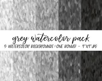 Watercolor Backgrounds Pack, Textures Bundle, Watercolor Digital Paper, Grey Watercolor Background, Watercolor Background