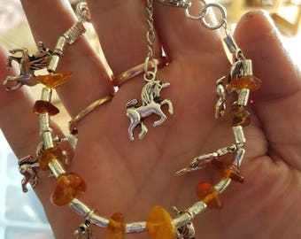 Silver Unicorns and Amber bracelet gift for her. Celebration. Bridesmaids gift, wedding jewelry gift.