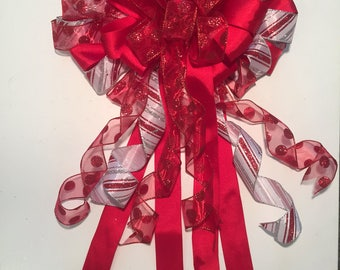 Candy Cane Christmas Bow