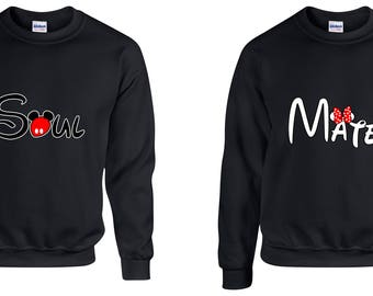 Valentine Gifts Soul Mate Mickey Minnie Mouse Disney COUPLE Printed Adult Sweatshirts Unisex Crew Neck Shirts for Men Women Matching Clothes
