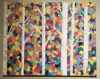 Birch Trees in Colored Forest