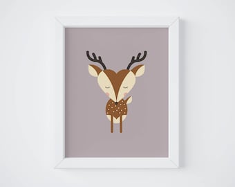 Deer Poster, Decor, Kid's Room, Baby, Birth Gift