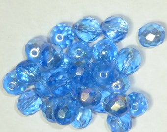 10 pearls 8mm blue faceted Bohemian iridescent