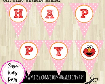 sesame street, party banner, pink, elmo, banner, birthday, banner, elmo banner, sesame street party, partyy banner, printable, kids party