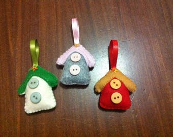Christmas decorations/ornaments in felt made by hand
